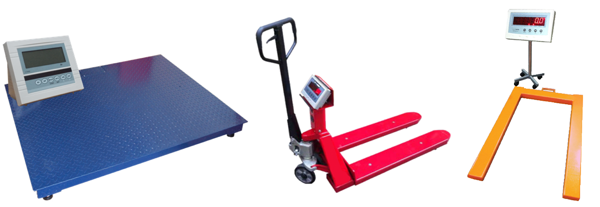Set of weight scales and pallet scales.